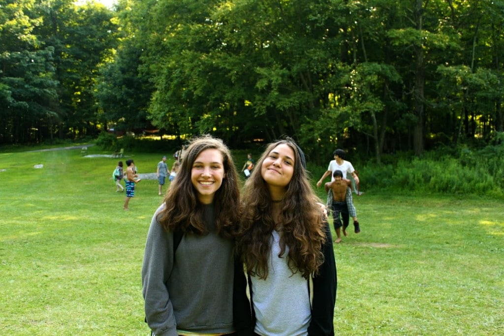 Two girls that made friends at teen camp.