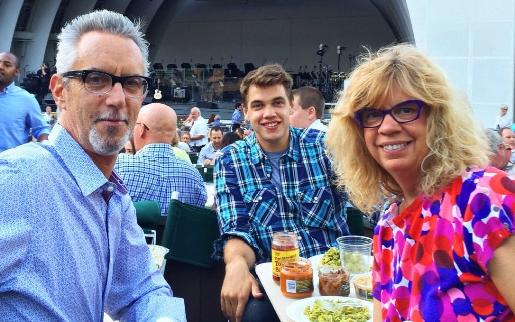 Alumni Camper Matt with his parents at Hollywood Bowl