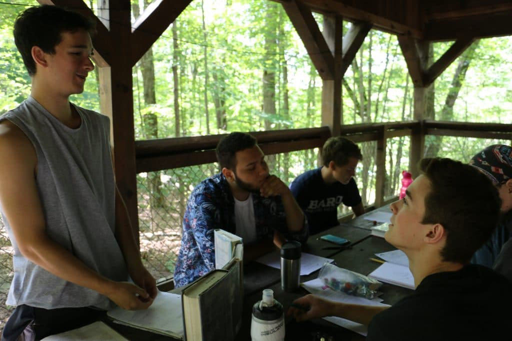 Five boys playing Dungeons and Dragons at Odyssey Teen Camp