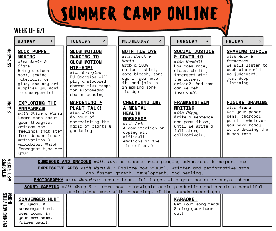 Virtual camp activities.